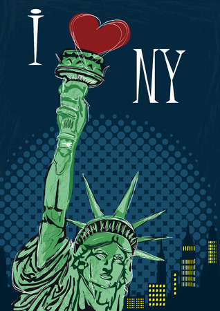 manhattan bridge: I Love New York Poster. Vector illustration Illustration