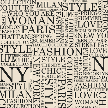 modeling: STYLE and FASHION word cloud concept. Vector illustration