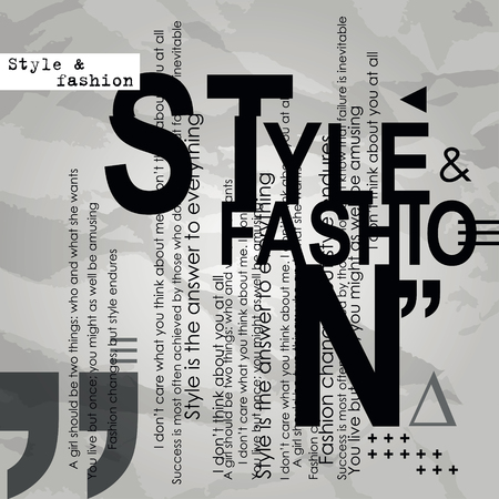 fashion background: Vintage fashion background. Stylish letters and words. Style and fashion Illustration