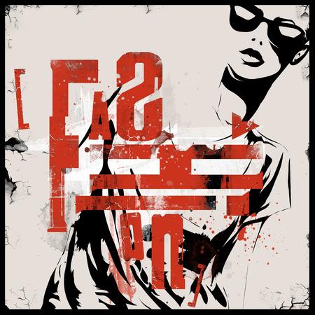 urban grunge: Modern teenage girl on grunge background. Grunge style.