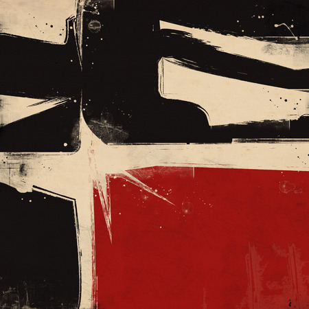 black and red: Grunge background. Black, red and beige paint Stock Photo