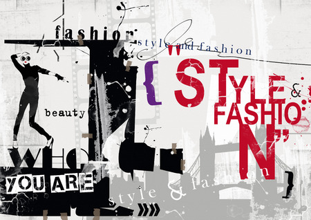 STYLE and FASHION word cloud concept. Grunge illustration