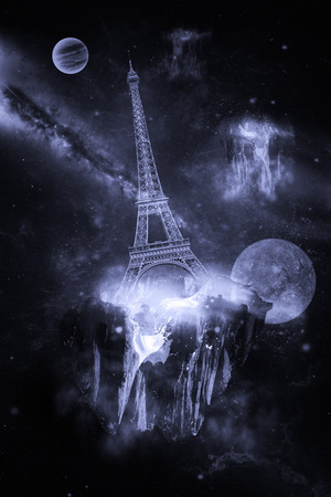 surrealistic: The Eiffel Tower flies in a space. Surrealistic illustration Stock Photo