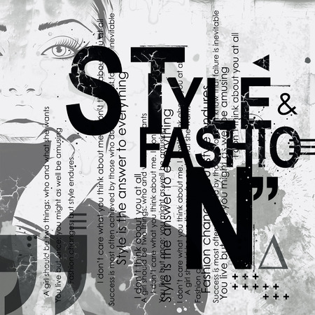 fashion girl: Fashion girl in sketch-style. Grunge illustration. Stock Photo