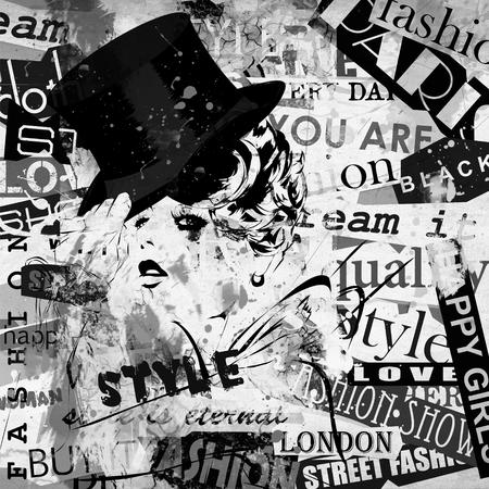 fashion design: Fashion girl in sketch-style. Grunge illustration. Stock Photo