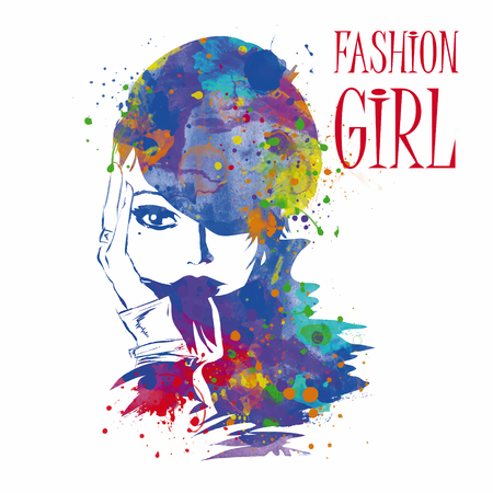 a charming: Fashion girl in sketch-style. Vector illustration.