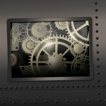 rack wheel: Background metallic with technology gears