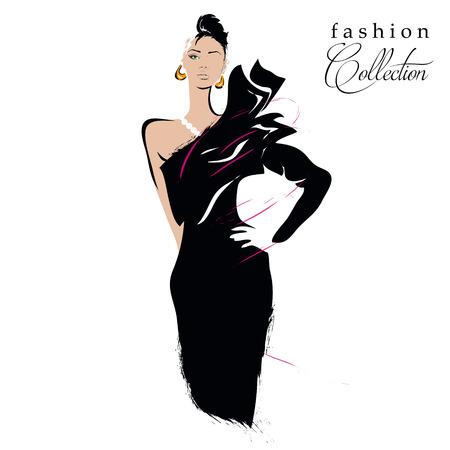 fashion dress: Fashion girl in sketch-style. Vector illustration.