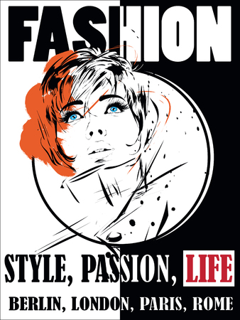 natural face: Fashion girl in sketch-style. Vector illustration.