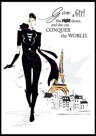 стиль жизни: Мода цитатой современной девушки в платье. Вектор искусства.
