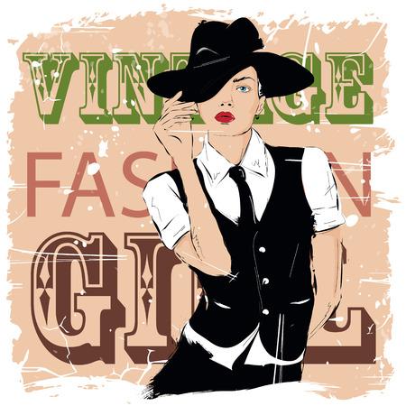 Chica de moda en el estilo de dibujo. Ilustración del vector.