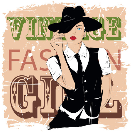 trendy girl: Fashion girl in sketch-style. Vector illustration.