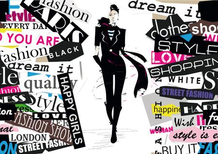 Mode meisje in schets-stijl. Vector illustratie.