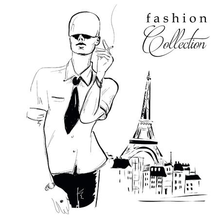 glamor: Fashion girl in sketch-style.