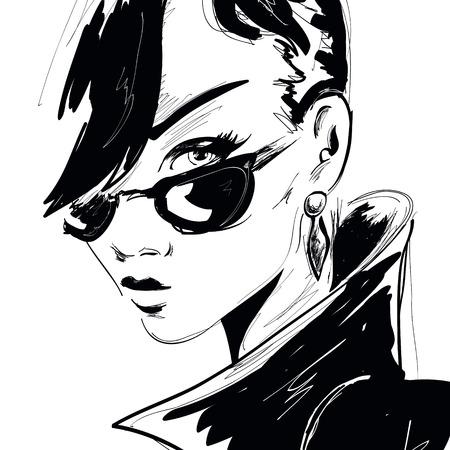 Fashion girl in sketch-style. Vetores