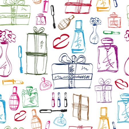 perfumery: Fashion seamless pattern. Perfumery, lipstick and gift illustration.