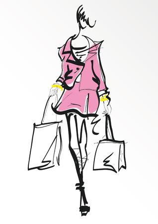 Chica de moda en el estilo de dibujo.