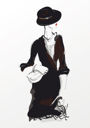 fashion dress: Fashion girl in sketch-style.
