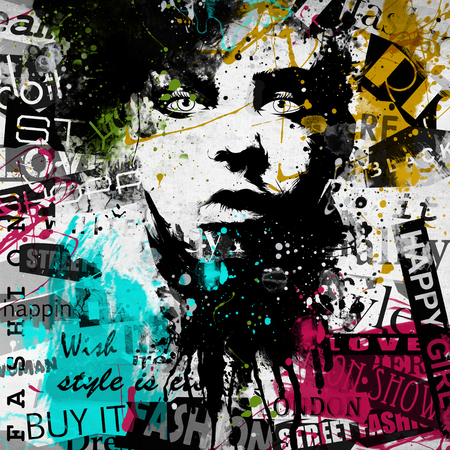 Modern teenage girl on grunge background. Grunge style. Modern generation. Banco de Imagens