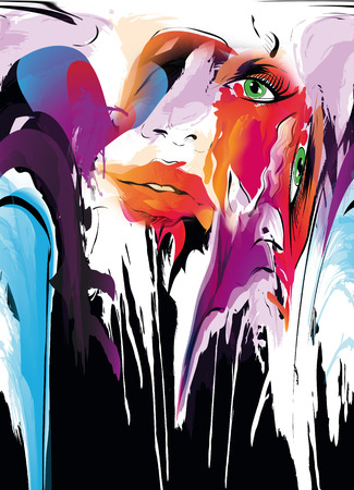 abstract portrait: Abstract portrait of woman. Watercolor illustration Stock Photo