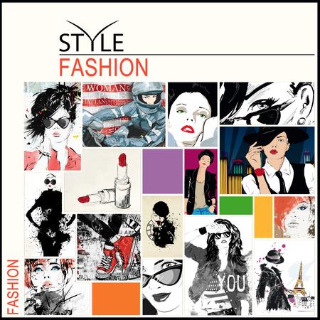 fashion art: Fashion collage  drawings, female faces