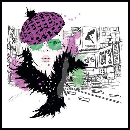 hair style fashion: Fashion girl in sketch-style. illustration. Illustration