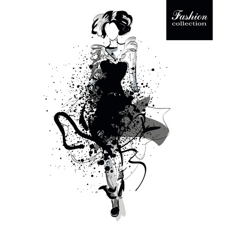 autumn woman: Fashion girl in sketch-style. illustration. Illustration