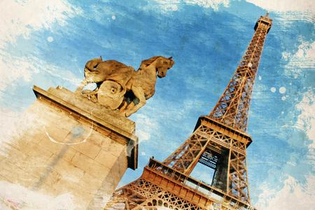 la tour eiffel: PARIS, FRANCE. Vintage illustration with Eiffel Tower (La Tour Eiffel) in Paris, France Stock Photo
