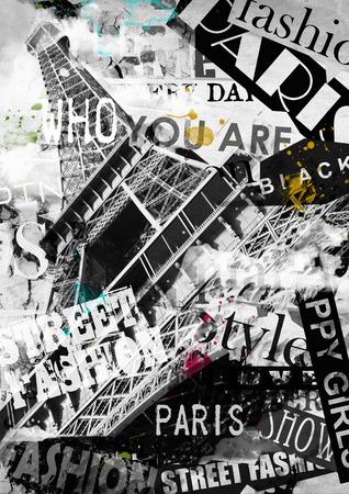 PARIS, FRANCE. Vintage illustration with Eiffel Tower (La Tour Eiffel) in Paris, France Archivio Fotografico