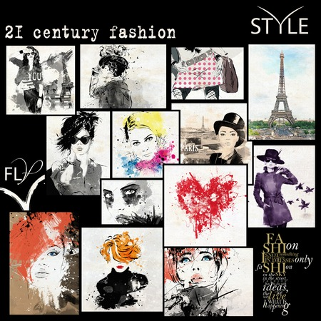 sensual: Fashion collage with freehand drawings, female faces
