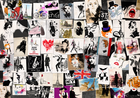 Fashion collage with freehand drawings, female faces