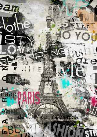 paris: PARIS, FRANCE. Vintage illustration with Eiffel Tower (La Tour Eiffel) in Paris, France Stock Photo