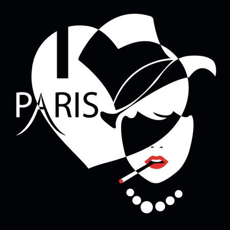 i love paris: Fashion girl in  retro style. I love Paris Illustration