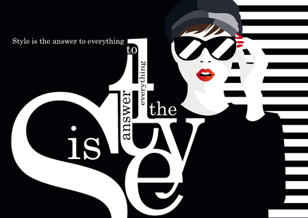 Fashion quote with fashion woman illustration Ilustração