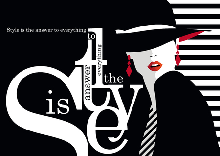 Fashion quote with fashion woman illustration Çizim
