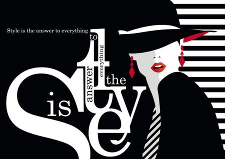 Mode Zitat mit Mode Frau Illustration Standard-Bild - 56720136