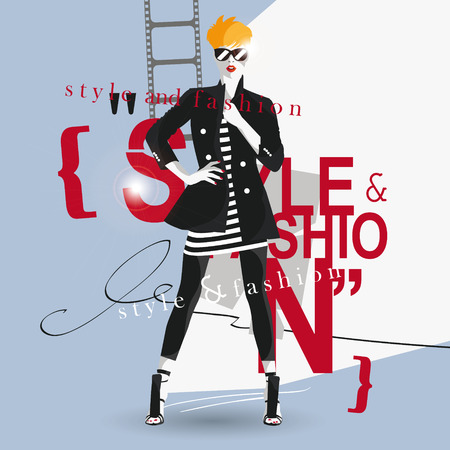 hair colors: Fashion teenage girl illustration