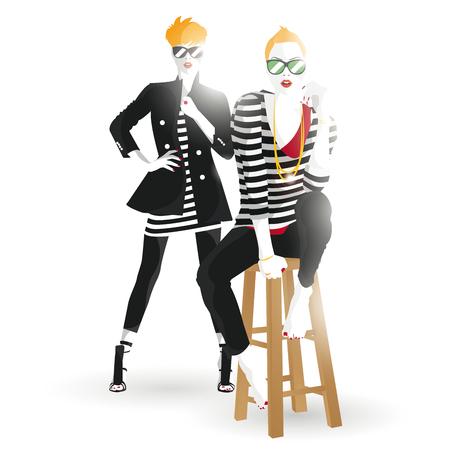 glamour model: Fashion teenage girl illustration