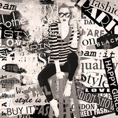 city street: Fashion girl in sketch-style. Grunge illustration. Stock Photo