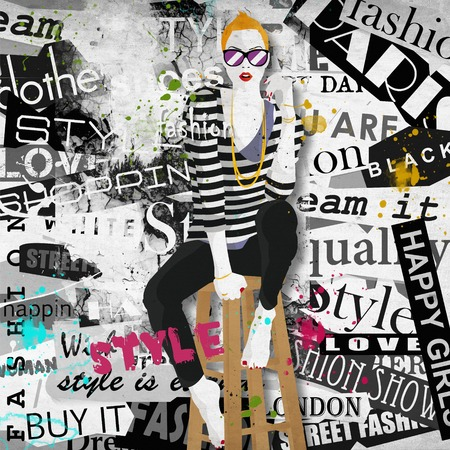 fashion style: Fashion girl in sketch-style. Grunge illustration. Stock Photo
