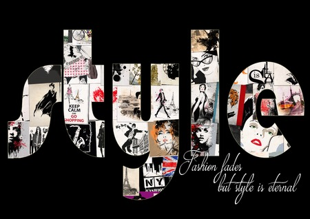 fashion design: Fashion quote with modern girl. Grunge illustration Stock Photo