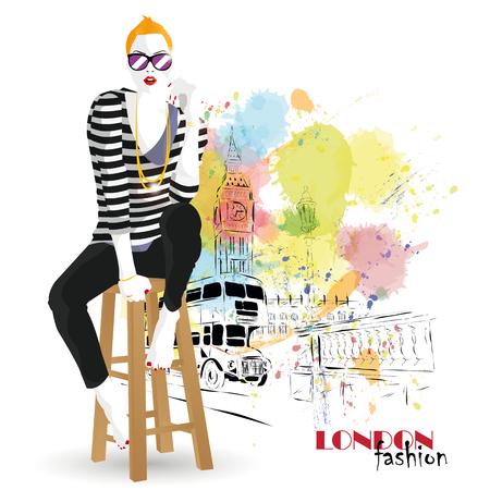 glamor: Fashion girl in sketch-style