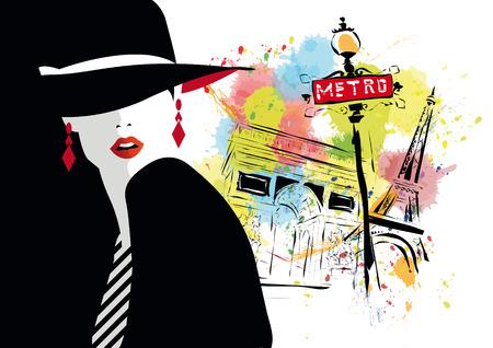 fashion girl: Fashion girl in sketch-style