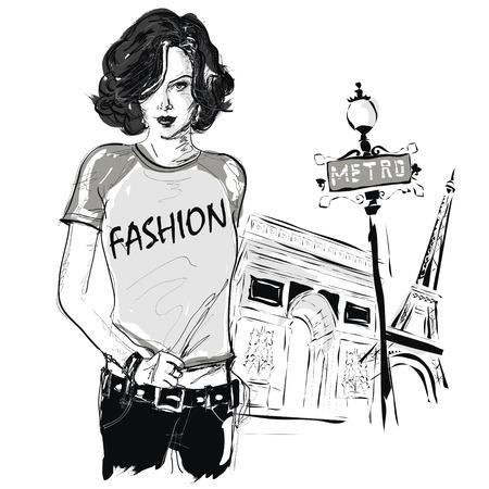 Mode Mädchen in Sketch-Stil