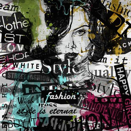 modern generation: Modern teenage girl on grunge background. Grunge style. Modern generation. Stock Photo