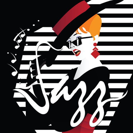 music instruments: Jazz festival. Retro a poster with the stylish girl.