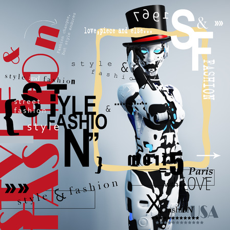 cyber woman: 3D illustration. The fashion girl in style the cyberpunk. Futuristic fashion android