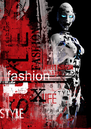 cyber woman: 3D illustration. The fashion girl in style the cyberpunk. Stock Photo
