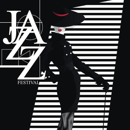 재즈 페스티벌. 레트로 세련 된 소녀와 포스터입니다.