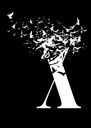 Letter X on a black background with birds